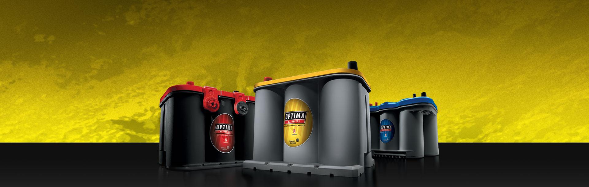Baterías para autos rojas, amarillas, azules y baterías para barco